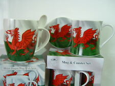 Wales Welsh Dragon Mug Coaster or spoon set fine china The Leonardo Collection