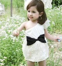 Boutique Inclined Shoulder White Cotton Mini Dress Floral Petal Sweep Black Bow