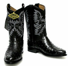 Men's Ostrich Quill Design Leather Cowboy Western Roper Boots Rounded Black