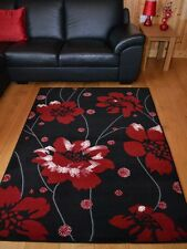 Black And Red Poppy Small Extra Large Soft Floor Area Rugs Rug Mat Mats Cheap