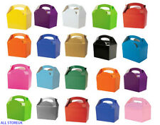 Childrens Kids Plain Coloured Carry Birthday Party Food Loot Favour Bag Boxes