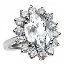 Bridal White Crystal Silver Tone Ring sizes M, O, Q Also for Engagement FR86