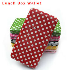 Women Candy Color Dots PU Leather Clutch Purse Wallet Lunch Box Bag Card Holder