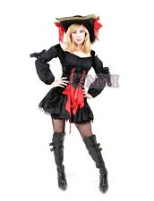 Sexy Black Swashbuckler Pirate Costume Dress + Hat+ Petticoat 6 8 10 12 14 16 18