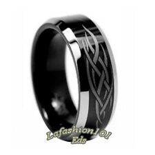 8mm Black IP Laser Engraved Tungsten Mens Engagement Ring SIZE 9,10,11,12,13