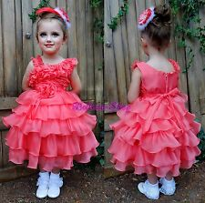 One Shoulder Organza Tiered Dress Wedding Flower Girl Pageant Size 2T-6 FG239
