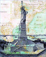 Vintage Nautical Map with Statue of Liberty Quilting Fabric Block