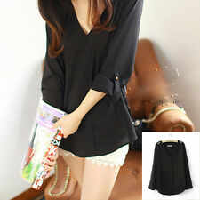 Casual Women Shoulder Rivets Solid Long Sleeve Shirts Asymmetric Hem Tops Blouse