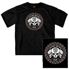 Men's Skull Trio Double Sided T-Shirt Live Free, Ride Free Biker for Life