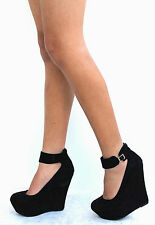 New Womens BC61 Black  Ankle Strap Platform Wedge High Heels USA Sz 5.5 to 11