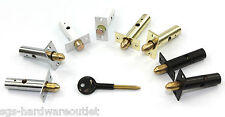 Qty 2 Security Door Dead Bolt Rack Bolt Lock + 1 Star Key - 4 Finishes available