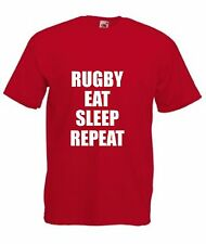 RUGBY EAT SLEEP REPEAT T-SHIRT Sport Men's S-XXL Choose Colour Lots More In Shop