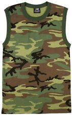 Woodland Camouflage Military Muscle Shirt Sleeveless Tank Top