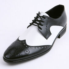 Mens Black & White real leather wing tip punching lace up rubber sole dress shoe