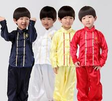 Chinese Boy's Tang Costumes Kung Fu Suits For Boys 2 Pieces Outfits Silk Blend