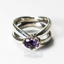 Rare Pandora Ring with Silver,14k Gold and Amethyst 190389AM