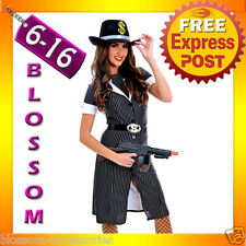 J64 Ladies 1920s Chicago Mafia Gangster Moll Fancy Dress Halloween Costume + Hat