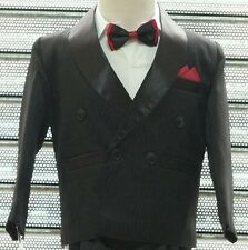 BOYS 4 PIECES STRIPED BLACK TUXEDO DINNER SUIT, WEDDING, PROM 3 Mths to 14 YEARS
