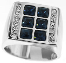 Mens Six Square Montana Blue Stones Rhodium Plated Ring