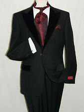 Men's Black Wool Formal Tuxedo Suit Velvet Trim Peak Lapel One Button Mantoni