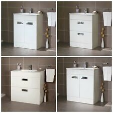 Gloss White Compact Cloakroom Freestanding Basin Vanity Unit - Storage Cabinet