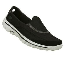 SKECHERS SHOES 13590 GOWALK GO WALK 2 WOMEN BLACK WHITE SPORT SLIP ON LIGHT SOFT
