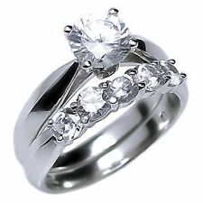 2.1ct Russian Ice on Fire CZ 5 Stone Engagement Wedding Band Ring Set 925 Silver