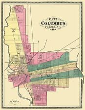 COLUMBUS OHIO (OH/FRANKLIN COUNTY) MAP 1872
