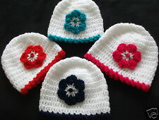HANDCROCHETED BABY HAT WITH SPARKLY FLOWER/TRIM...0/3...3/6....9/12 MONTHS