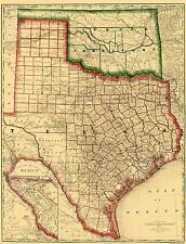 Old State Maps- STATE OF TEXAS (TX) & INDIAN TERRITORY 1879 MAP