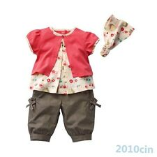 0-3 Y Baby Kids Girls Fruits Pattern Outfits Clothes Tops+Pants+Hat Set 3 Pcs