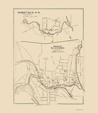 Old City Map - Winsted Connecticut - Hurd 1893 - 23 x 26.44