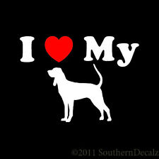 "I Heart My Black & Tan Coonhound Dog Love - Decal Sticker - 24 Color -5.2""x3.75"""