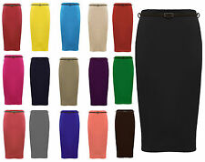 New Womens Plus Size Belted Pencil Skirts Casual Office Bodycon Skirts 16-26