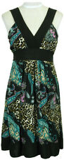 Pretty BLACK PAISLEY & LEOPARD Print EMPIRE WAIST Tie SUMMER DRESS NWT S-M-L-XL
