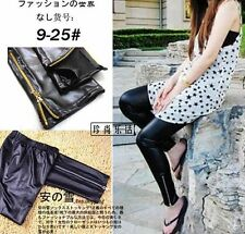 NEW Fashion Sexy Womens PU Leather Zipper Wet Look Tights Pants Pantyhose BLACK