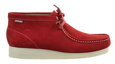 Clarks Padmore II Men's Boots Shoes Rubber Sole Red Suede White 65920