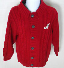 GYMBOREE Boy's Empire State Express Red Cardigan Sweater Size 3-6 Months