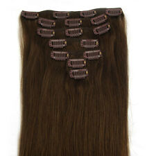 "15""18""20""22""24""26""28"" 7PCS Clip in Remy human hair extensions #04 Medium Brown"