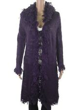 Chunky knit long cardigan with loop knit detail trim - 2 colours