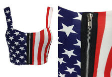 NEW LADIES USA STARS AND STRIPES FLAG PRINT ZIP FRONT CROPPED BRA TOP  8-14