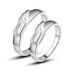 His & Hers Rings Silver Love Couple Promise Rings Wedding Rings Nickel Free
