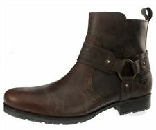 Red Tape Oaktrak Mens Brown Leather Cowboy Zip Pull On Boots