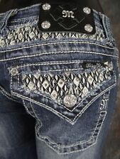 NWT MISS ME JEANS Boot Cut with Leather Diamonds and Crystals!