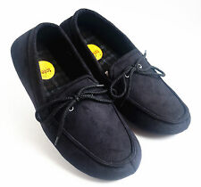 Totes Isotoner Men's Microsuede Boater Moccasin Slippers Black Size M L XL 2XL