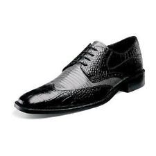 Mens Stacy Adams Wing tip Shoes crocodile & lizard print 24823 AMATO Black Gray