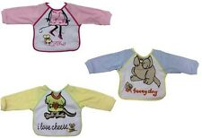 PAIR OF BABY BIBS WITH SLEEVES 3 DESIGNS BNWT FREE POSTAGE!
