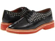 Pour La Victoire Women's Mayah Flat Black Calf leather lace-up studs wingtip NEW
