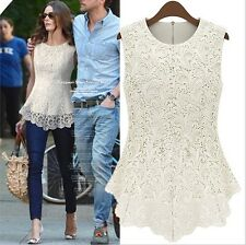 Sleeveless Embroidery Lace Flared Peplum Crochet Top Tee T-Shirt Vest Blouse UK