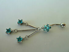 Belly ring Dangle/Bar,316L Surgical/CZ (Blue/Pink) Body jewellery/Piercing, BR6